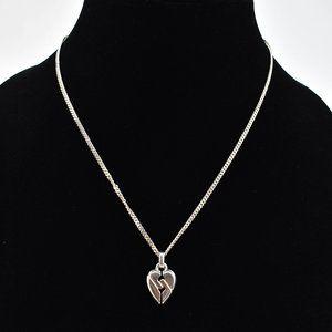 GUCCI Sterling Broken Heart Logo Necklace (ot)